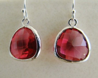 Ruby Red Crystal Valentine Earrings Wedding Jewelry Bridesmaids Bride Mother Daughter Wife Sterling Silver July Birthstone, Dangle  - Adison