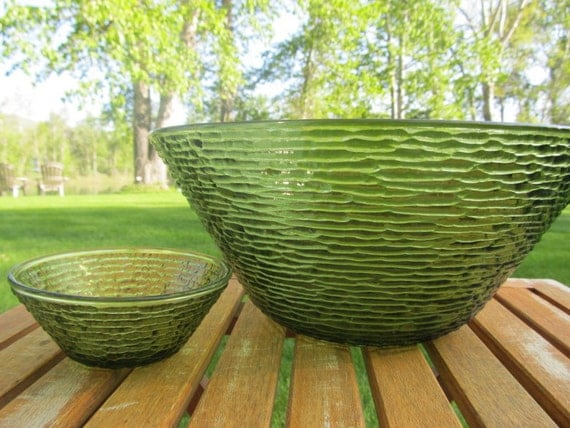 Vintage Green Soreno Large Bowl Chip and Dip Set by Anchor Hocking