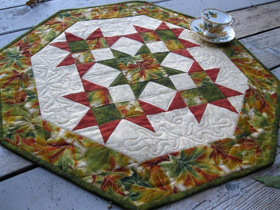 Sunkissed Autumn 27 inch quilted table centerpiece in fall colors