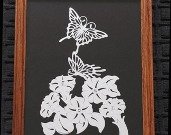Butterflies On Petunias - Scherenschnitte - Hand Paper Cutting Art signed and dated By Janet Lynch -11x14 Framed