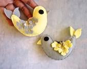 Yellow Grey Ornaments. Woodland Bird. Handmade Bird Decor.  Wedding Favor. Whimsical Gift. Hanging Ornament.
