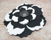 Big Flower Hair Clip - Black and White Leather - Tropical Floral Hair Accessory