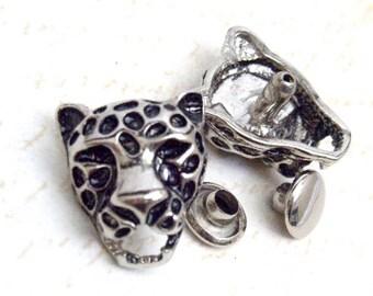 5 sets12 x 16 mm LEOPARD head Silver Rivet Rapid Stud for bag purse jacket jean craft project