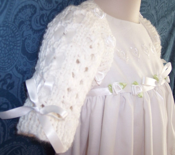 Hand Knit Lacey  Baby Shrug/Sweater  for Christening, Baptism or Special Occasions