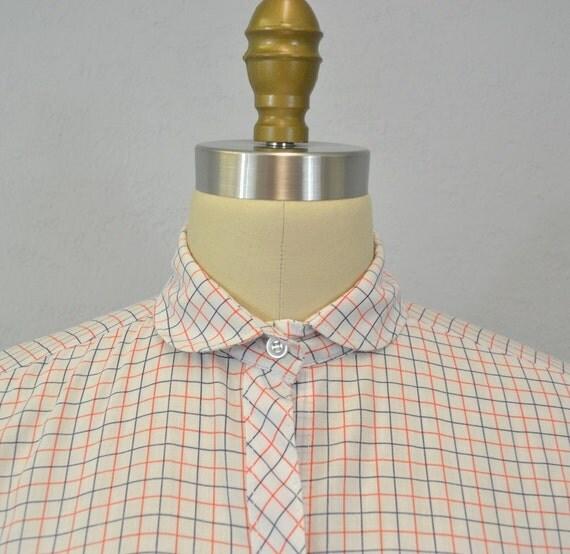 Vintage camp shirt / 1970s / peter pan collar / checkered