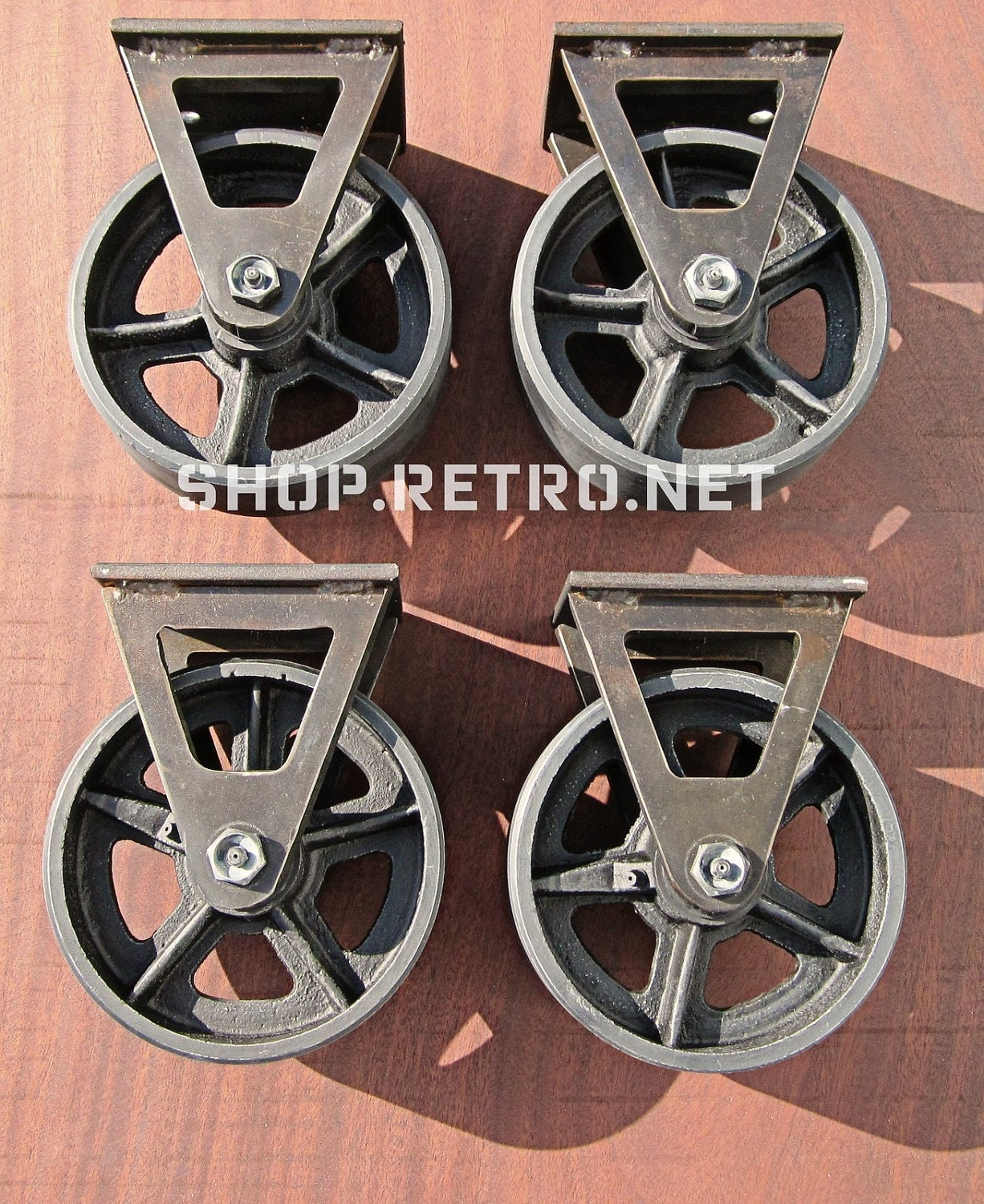 Factory caster vintage industrial furniture - 6 Vintage Factory Caster Wheel Set Antique Industrial 6fc