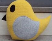 Large Yellow and Gray Plush Bird - Yellow and Grey Bird Pillow
