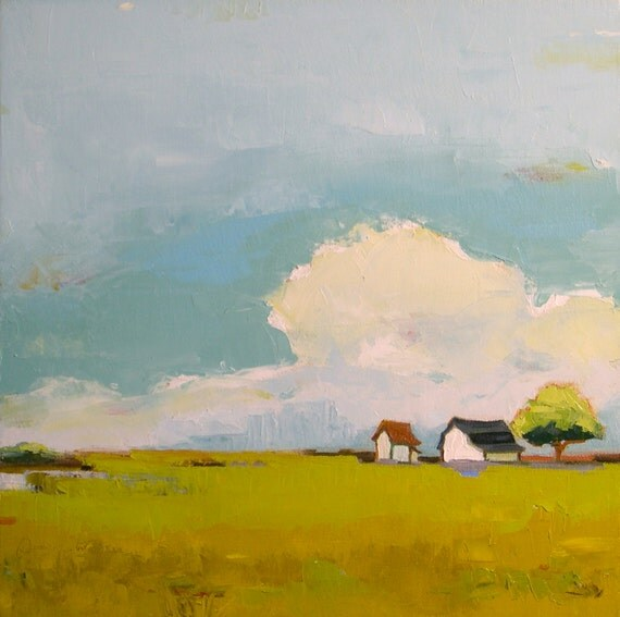 Clouds Roll By II- 16x16 Original Oil Painting on Canvas- Farm Landscape