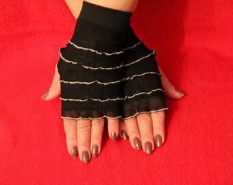 Black Comfy RUFFLES Hand WARMERS Fancy Stylish Elegant Girl Women Gloves