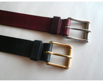 Leather Belt w/ Square Roller Buckle