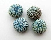 20 Tiny Raku Flower Beads