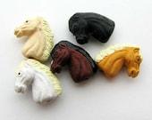 20 Ceramic Beads - Tiny Mixed Horse Head  - CB869