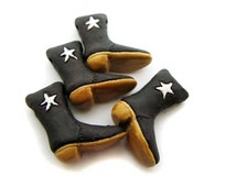 4 Large Cowboy Boot  Beads - star