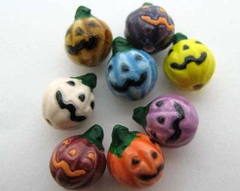 20 Tiny Jack O Lantern Beads - multicolor - peruvian beads - ceramic beads - holiday beads - halloween beads - trick or treat beads - CB874