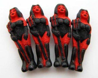 4 Large Devil Girl Beads - red - LG343