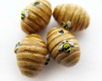 4 Tiny Bee Hive Beads - CB909