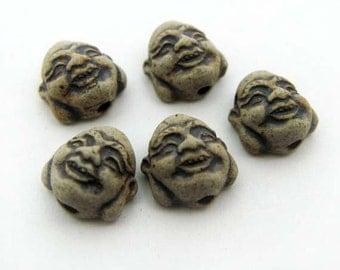 20 Ceramic Buddha Head Beads -Tiny High fired - CB563