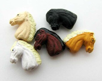 10 Ceramic Beads - Tiny Mixed Horse Heads - CB869