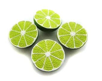 4 Large Lime Beads - LG557