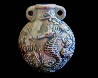 Raku Ceramic Bottle Bead - Seahorse