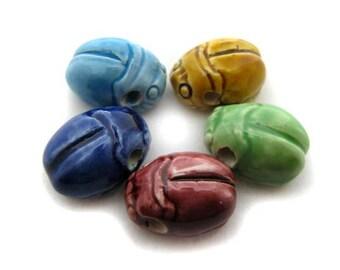 10 Large Scarab Beads - mixed