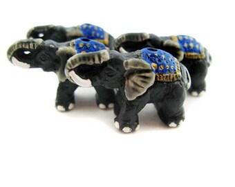 10 Large Elephant Beads - Blue manta - LG302