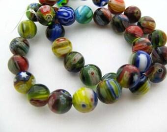 Medium Mixed Round Millefiori Beads - CG241