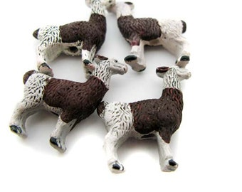 4 Large Brown and White LLama Beads - LG145