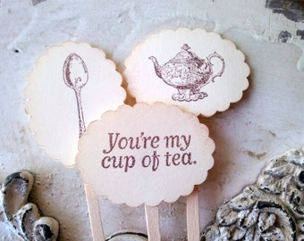 Tea Party Cupcake Toppers, Cake Decorations, Teapot Food Picks, Teapot Cupcake Topper, Bridal Shower