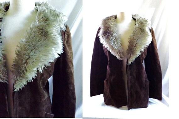 1970s vintage Suede Fur Trimmed Collar Jacket Coat / vintage  Brown Leather Suede Fur Jacket Coat