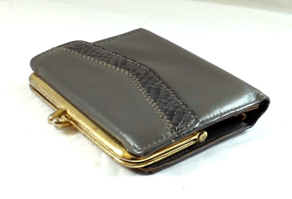 RESERVED Leather  Wallet / vintage 1960s Grey Gray  Leather Wallet Change Purse