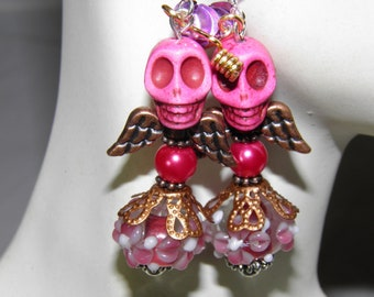 Day of the Dead Earrings, Sterling Silver and Pink Turquoise Angel Skull Jewelry, Frida Kahlo Day of the Dead Jewelry, Halloween Earrings