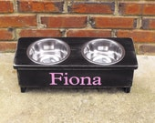 Custom listing for D Rettig Dog Bowl Stand Personalized  with two 1 quart bowls 4 inches tall