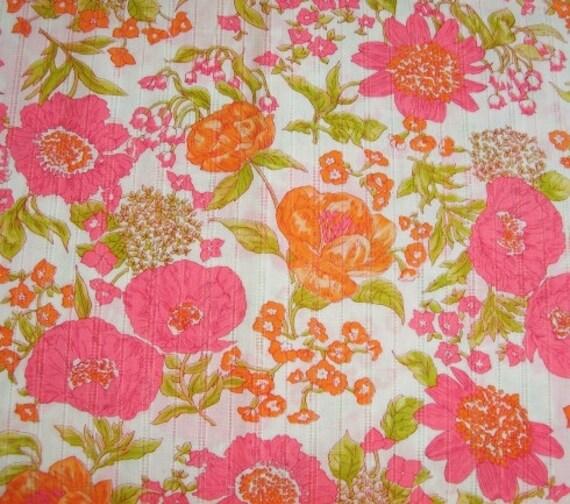 Vintage Bright Flowers Retro Fabric 2.5 Yards