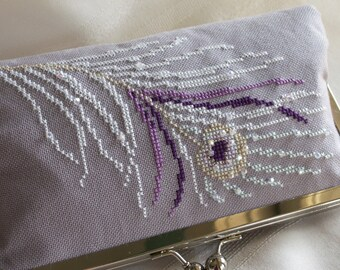 Handmade, hand cross stitched, beaded peacock clutch handbag. Purple, white, lavender. WHITE PEACOCK by Lella Rae on Etsy