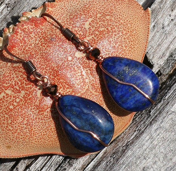Blue Lapis Earrings, Copper Wire Wrapped, Natural Stone, Cobalt Blue, Holiday Jewelry, Christmas, Beaded