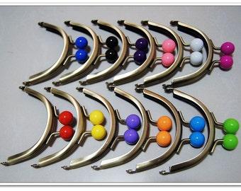 8CM  12 color bobbles half round Brushed antique brass purse frames