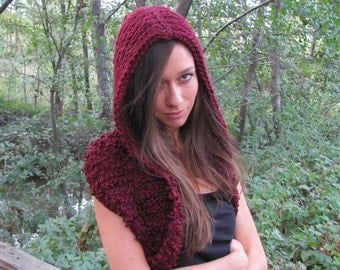 Hooded Infinity Scarf, Hooded Cowl, Hooded Scarves, Knit Infinity Scarf, Knit Cowl, Chunky Infinity Loop, Oversized Scarf, Hooded Sweater