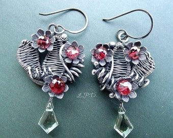 20 Percent OFF Wire Wrapped Earrings, Handmade in Sterling Silver, Wire Woven Leaves, Red Garnets And Green Amethyst.