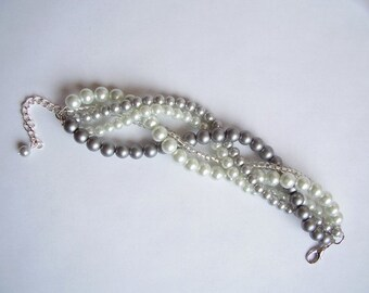 Grey and white custom order bracelet braided twisted chunky statement pearl bracelet bridesmaid bridal