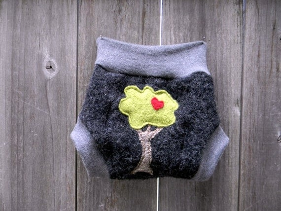 """Upcycled Wool Soaker Cover Diaper Cover With Added Doubler Black/Gray With """"I Love Tree"""" Applique  MEDIUM 6-12M Kidsgogreen"""
