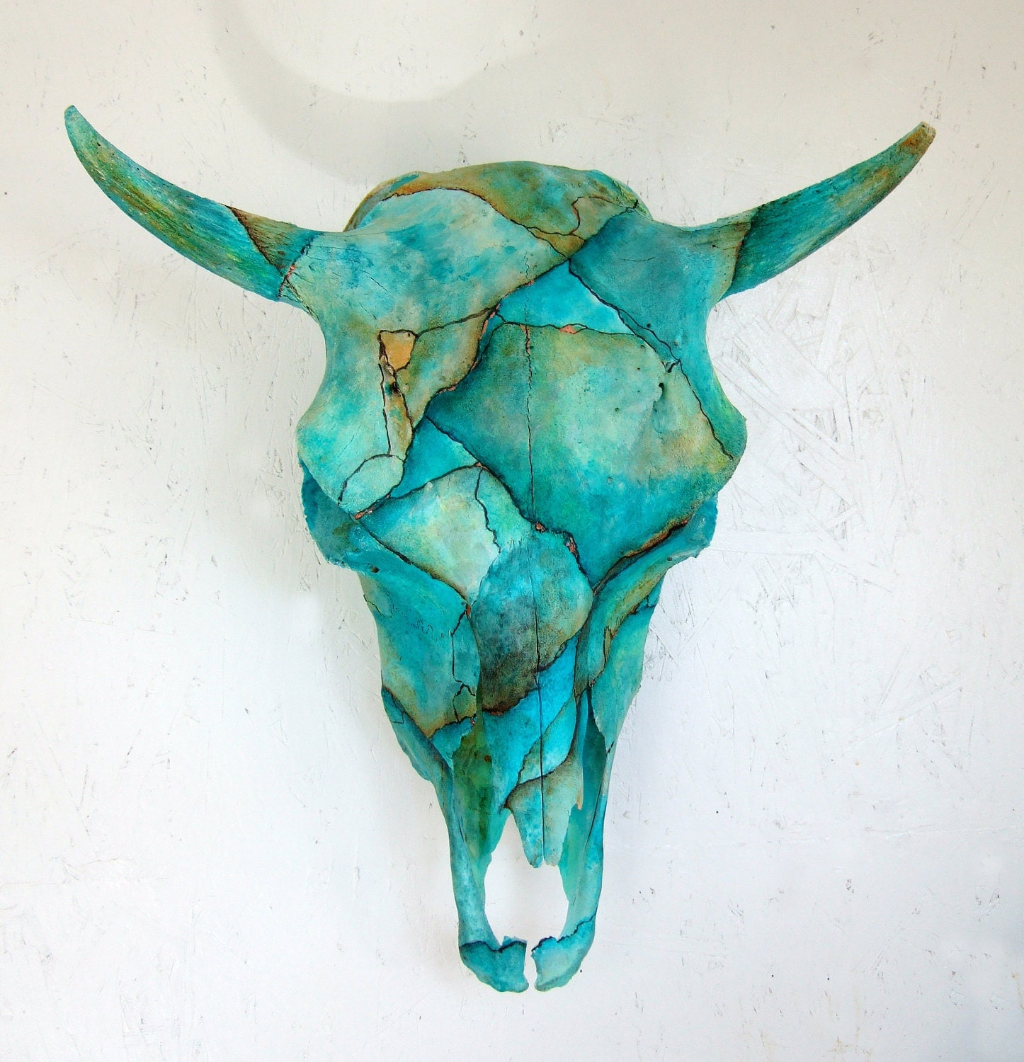 Cow Skull Turquoise Painted Art Sculpture By Windynightstudio