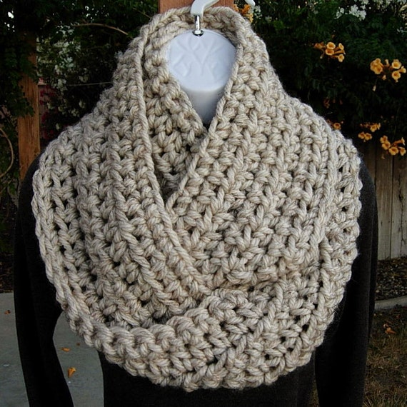 INFINITY COWL SCARF Off White Ivory w/ Black, Brown..100% Acrylic..Super-Soft Bulky Crochet Winter Eternity Loop, Neck Warmer..Ready to Ship