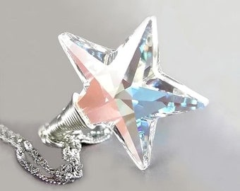 Crystal Star Necklace Sterling Silver Aurora Borealis Swarovski Clear Crystal Star Pendant Necklace North Pole Star
