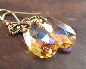 Citrine Crystal Earrings 14k Gold Hooks RARE Citrine Champagne Swarovski Crystal Citrine Earrings November Jewelry Citrine Drop Earrings