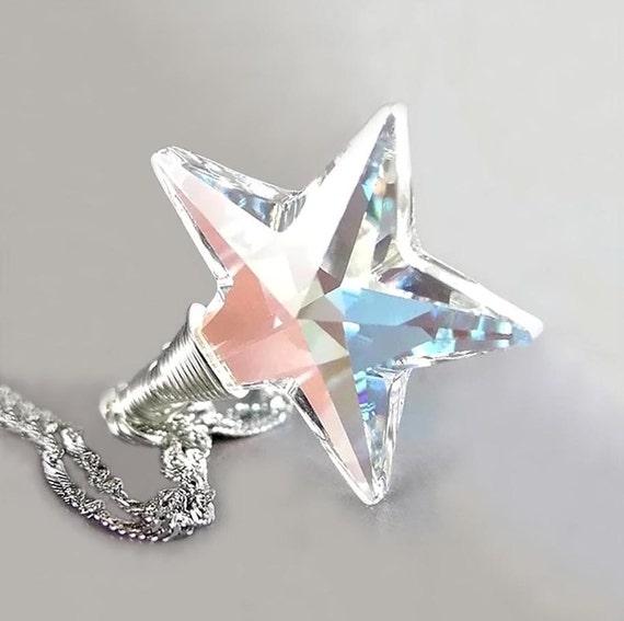 Crystal Star Necklace Sterling Silver Aurora Borealis Swarovski Clear Crystal Star Pendant Necklace North Pole Star