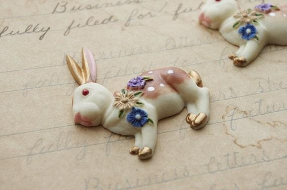 2 Handpainted Flat Back Resin Rabbits
