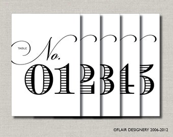 Flair Designery Signature - PRINTED Set of 20 Table Numbers for Weddings, Parties, Events and more - ANY COLOR