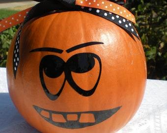 Halloween Pumpkin Meanie Face Vinyl Decal  - Home Decor - Halloween - Children