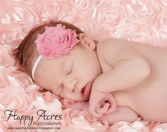 Rose Pink Chiffon Rosette Flower Headband